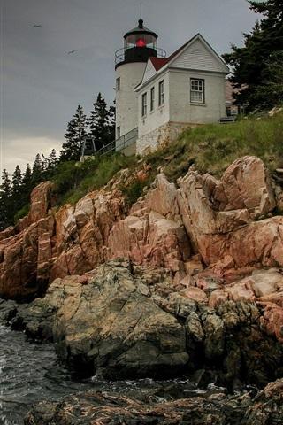 iPhone Papéis de Parede Estados Unidos, Bass Harbor Farol, rochas, céu, costa, mar