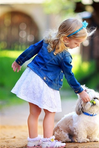 iPhone Papéis de Parede Menina bonito com cão
