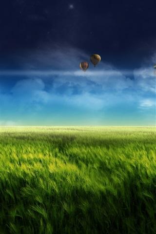 iPhone Papéis de Parede Sonho paisagem, design digital, fazenda, moinho de vento, verde