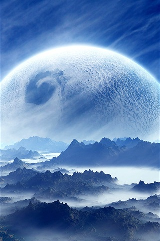 iPhone Wallpaper Dream landscape, planet, sky, mountains, clouds, blue, white