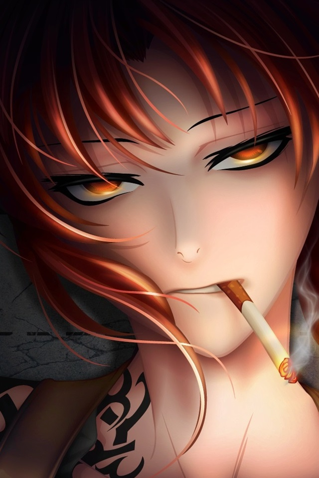 Fantasy Red Hair Girl Smoking 640x960 Iphone 4 4s Wallpaper Background Picture Image