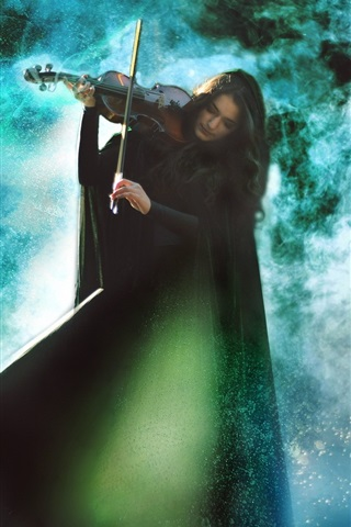 iPhone Wallpaper Girl play the violin, magical music, creative picture