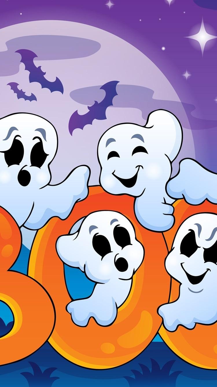 Halloween Funny Ghosts Creepy House Full Moon Vector