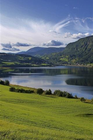 iPhone Wallpaper Lake water, fields, grass, greenery, hills, mountains, summer, clouds