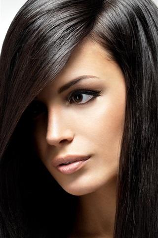 iPhone Wallpaper Long black hair girl, beautiful face