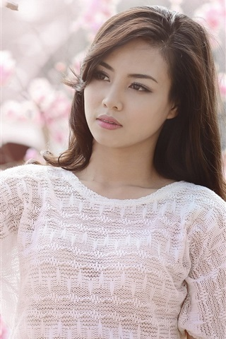 iPhone Wallpaper Pink cherry flowers, asian girl white clothes