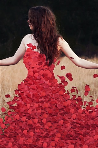 iPhone Wallpaper Red rose petals dress with girl