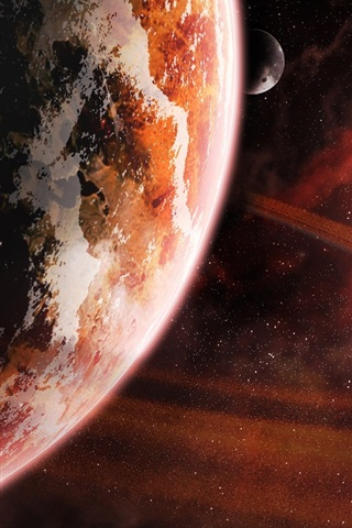 iPhone Wallpaper Red space, kosmos planet, stars