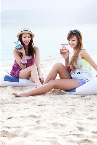iPhone Wallpaper SISTAR beautiful girls at beach