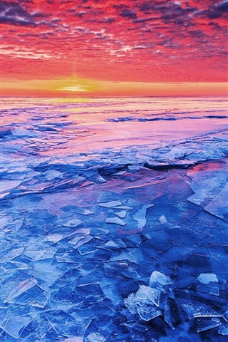 iPhone Wallpaper Sea sunset and shattered ice