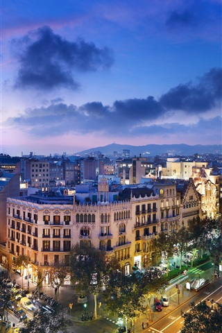 iPhone Wallpaper Spain, Barcelona, city night, street, road, architecture, lights, clouds