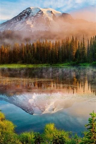 iPhone Wallpaper Washington, Cascade Mountains, morning, forest, lake, mist, sunrise