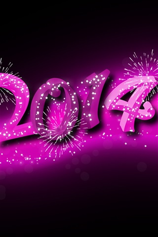 iPhone Wallpaper 2014 Happy New Year, purple style