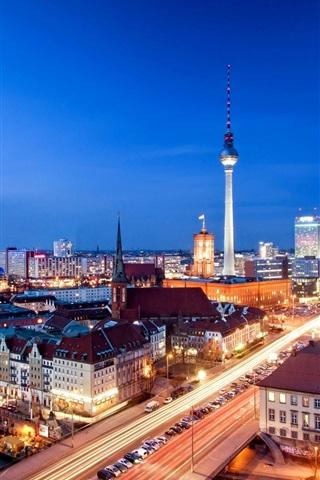 iPhone Wallpaper Alexanderplatz, Berlin, Germany, city night, evening, house, lights
