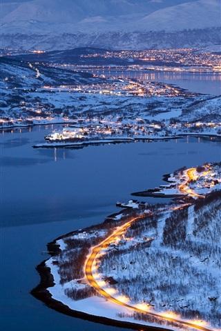 iPhone Wallpaper City lights of Tromso, Norway, winter night