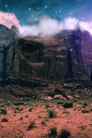 iPhone Wallpaper Fantasy scenery, creative, mountain, cliff, clouds, space, stones, stars