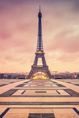 iPhone Wallpaper France, Paris, Eiffel Tower, evening, dusk