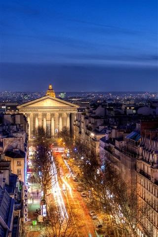 iPhone Wallpaper France, Paris, Provinces Opera, buildings, house, night lights