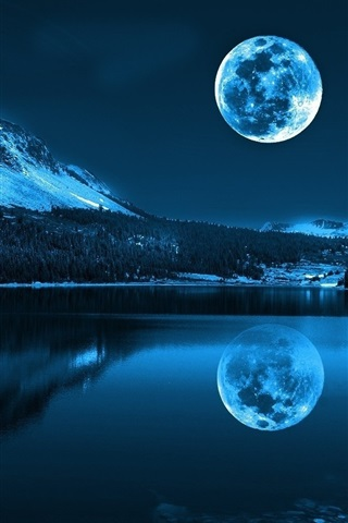 iPhone Wallpaper Moon, lake, mountains, cold night, nature scenery