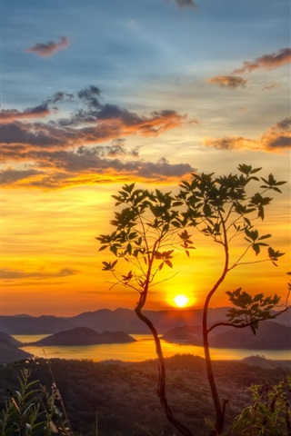 iPhone Wallpaper Nature, mountains, lake, tree, sun, morning, dawn