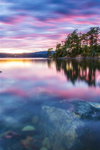 iPhone Wallpaper Nature scenery, trees, lake, water, stones, sunset, tranquility