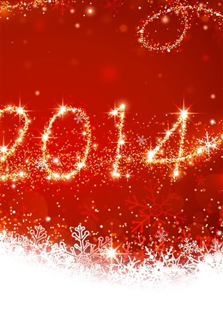 iPhone Wallpaper New Year 2014, Christmas, red style