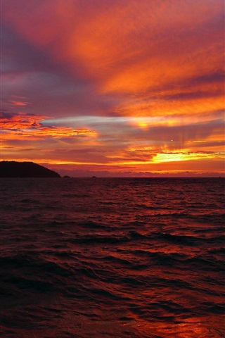 iPhone Wallpaper Sea, sky, clouds, horizon, sun, sunset, red style
