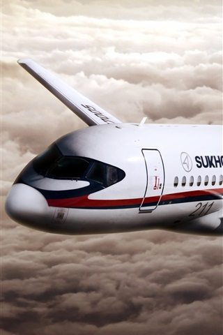 iPhone Wallpaper Sukhoi Superjet 100 aircraft
