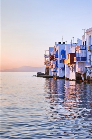 iPhone Wallpaper Sunset reflected over sea, Little Venice, Mykonos, Greece, house