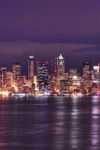 iPhone Wallpaper USA, Washington, Seattle, city night, lights, buildings, river