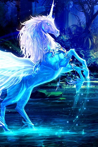 iPhone Wallpaper Art pictures, unicorn, horse, water, rays, forest, blue