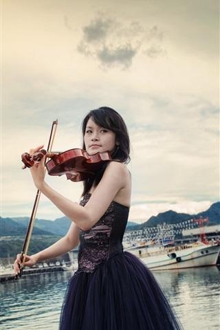 iPhone Wallpaper Asian girl, violin, music, pier