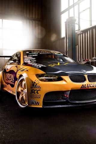 iPhone Wallpaper BMW M3 supercar, garage, yellow