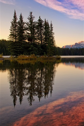 iPhone Wallpaper Banff National Park, Canada, Jack Lake, forest, mountains, sky, sunset
