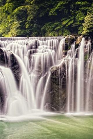 iPhone Wallpaper Beautiful waterfall, nature, Shifen Waterfall, Taiwan, forest