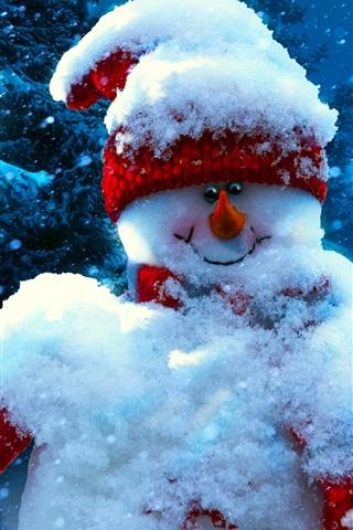 Weihnachten Neues Jahr Schneemann Winter 1080x1920 Iphone