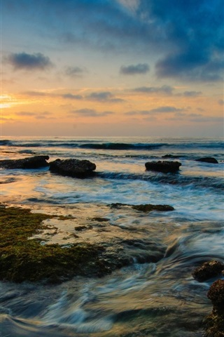 iPhone Wallpaper Coast landscape, nature, sea, water, rocks, sunset