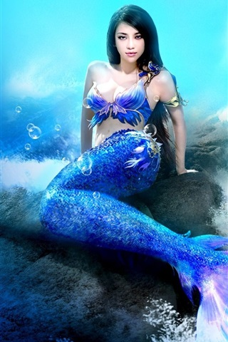 iPhone Wallpaper Fantasy girl, mermaid, sea, underwater