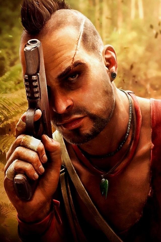 Far Cry 3 Pistol Jungle 640x960 Iphone 4 4s Wallpaper