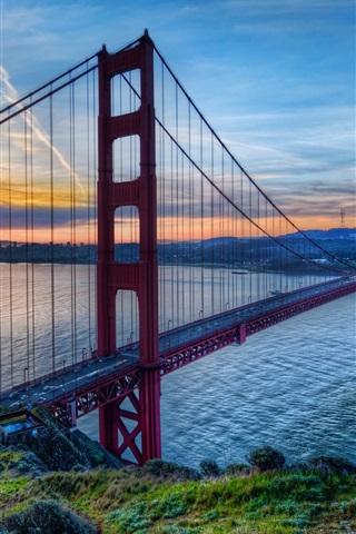 iPhone Wallpaper Golden Gate Bridge, San Francisco, California, USA, sunset