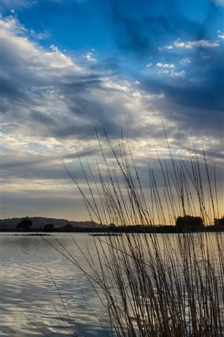 iPhone Wallpaper Lake, morning, sun, sunrise, clouds