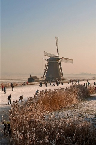 iPhone Wallpaper Netherlands, winter, mill, ice river