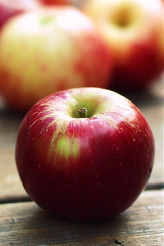 iPhone Wallpaper Red apples, wooden table