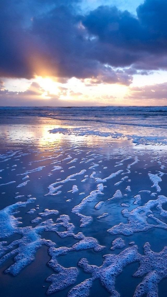 Sunset Blue Ocean Waves Foam 640x1136 Iphone 5 5s 5c Se
