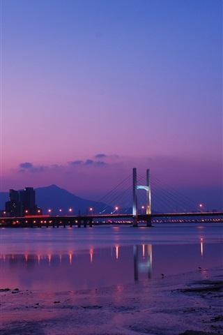 iPhone Wallpaper Taiwan, Taipei, city night, bridge, lights, river, purple sky