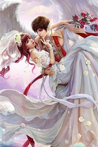 iPhone Wallpaper Art painting, bride, boy, wings, waterfall, rose