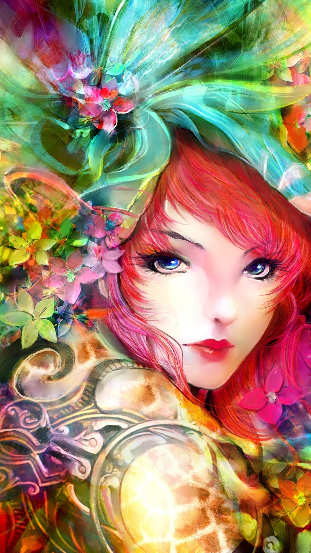 アートの絵画 女の子 目 顔 花 赤い髪 カラフル 1080x1920