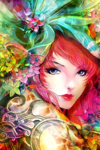 iPhone Wallpaper Art painting, girl, eyes, face, flowers, red hair, colorful