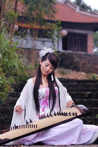 iPhone Wallpaper Beautiful asian music girl, white skirt