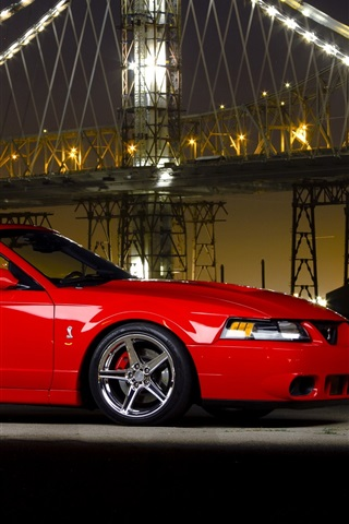 iPhone Wallpaper Ford Mustang Cobra supercar, night, bridge